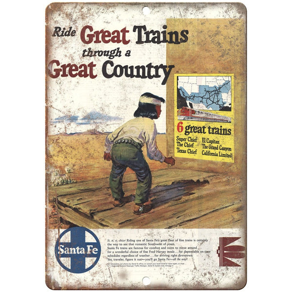 "Santa Fe Trains vintage ad great trains 10"" x 7"" reproduction metal sign"