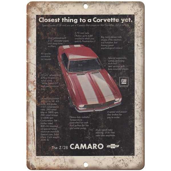"Chevy Camaro Z28 Advertisment Retro Look 10"" x 7"" Reproduction Metal Sign"
