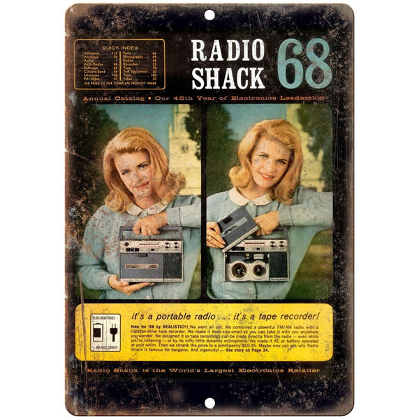 "Radio Shack 1968 Audio Video Catalog Allied 10"" x 7"" Reproduction Metal Sign"