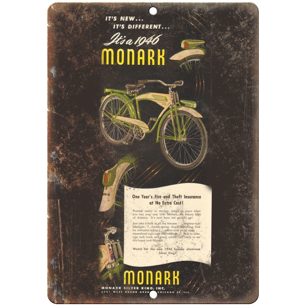 "1948 Monark Silver King Inc. Bicycle Ad - 10"" x 7"" Retro Look Metal Sign"