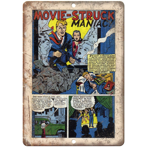 "Movie Struck Maniac Vintage Comic Book 10"" X 7"" Reproduction Metal Sign J304"