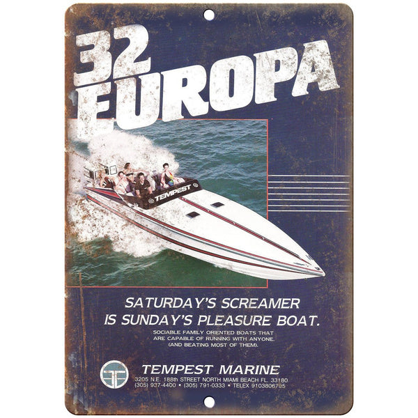 "Tempest 32 Europa Boat Vintage Ad 10"" x 7"" Reproduction Metal Sign L84"