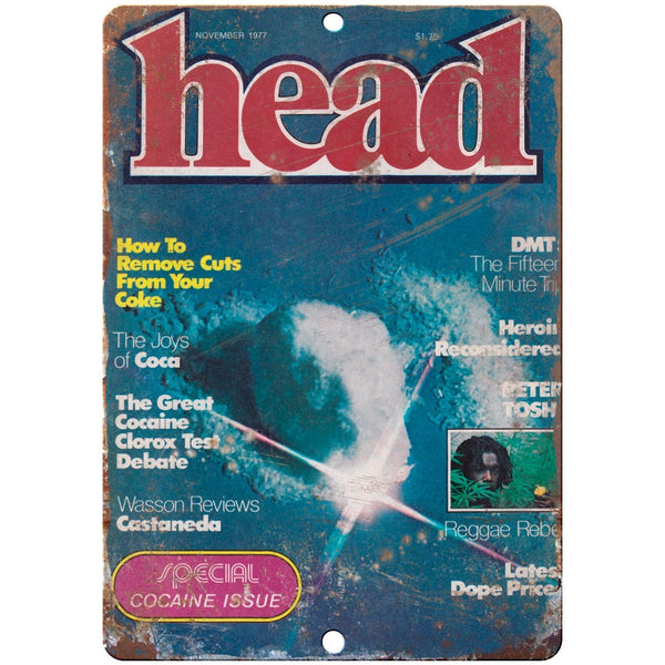 "1977 Cocaine Head Magazine vintage advertising 10"" x 7"" reproduction metal sign"