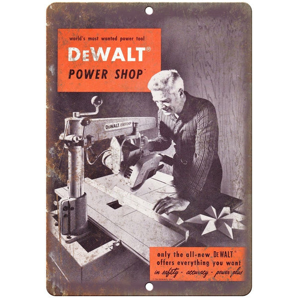 "DeWalt Power Shop Power Tool Table Saw Workshop 10"" x 7"" Retro Look Metal Sign"