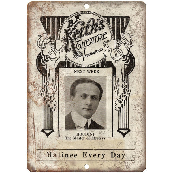 "Bf Keith's Theatre Houdini Magic Mystery 10"" X 7"" Reproduction Metal Sign ZH129"