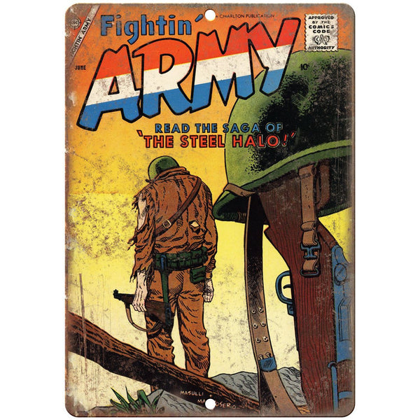 "Fightin' Army June Comic Book Cover Ad 10"" x 7"" Reproduction Metal Sign J731"