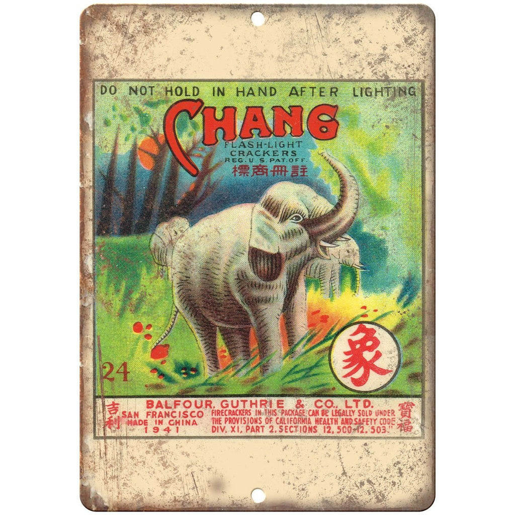 "Chang Firework Package Art 10"" X 7"" Reproduction Metal Sign ZD101"