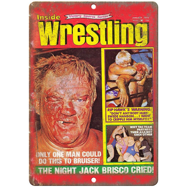 "1975 Inside Wrestling Magazine Jack Brisco 10"" x 7"" Reproduction Metal Sign X90"