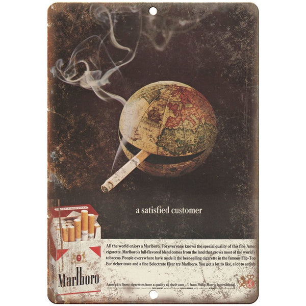 "Marlboro Satisfied Customer Cigarette ad 10"" x 7"" reproduction metal sign"