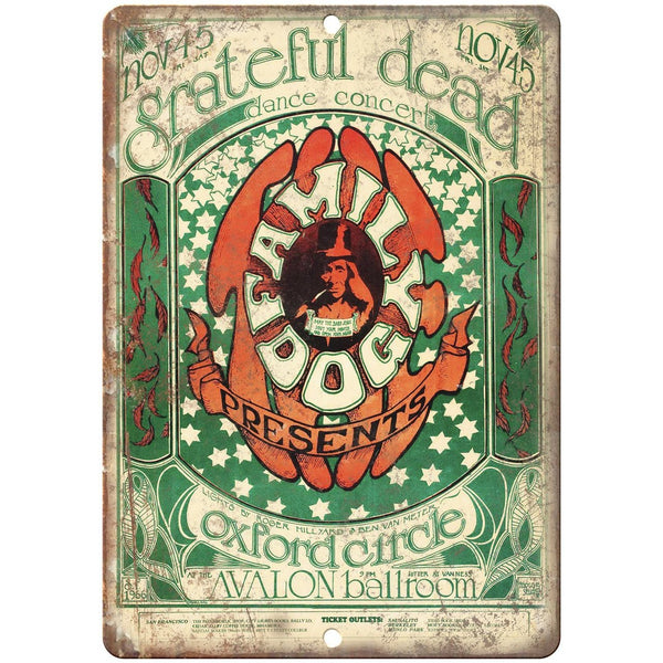 "1966 Grateful Dead Oxford Circle Poster 10"" x 7"" Reproduction Metal Sign K57"