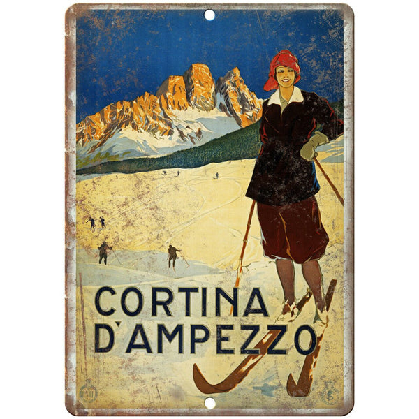 "Cortina D'Ampezzo Travel Poster Art 10"" x 7"" Reproduction Metal Sign T92"