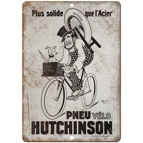 "Pneu Velo Hutchinson Vintage Bicycle Ad 10"" x 7"" Reproduction Metal Sign B356"
