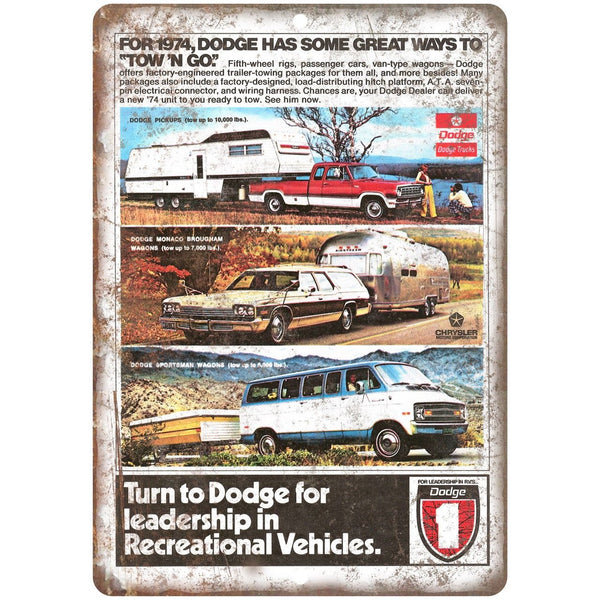"1974 Dodge Pickup Wagon Truck Car Ad 10"" x 7"" Reproduction Metal Sign A261"