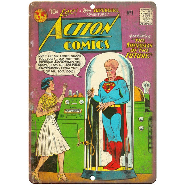 "Action Comics Superman Supergirl 10"" X 7"" Reproduction Metal Sign J241"