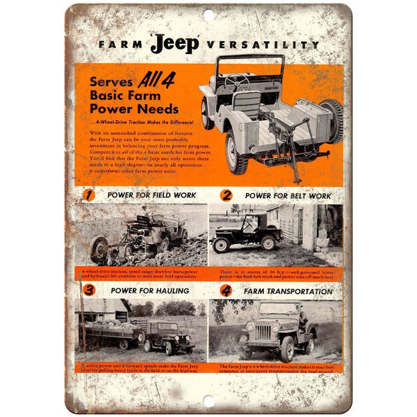 "Jeep Hurrican Engine Willys Overland 10"" x 7"" Reproduction Metal Sign"