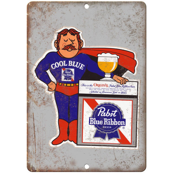 "Pabst Blue Ribbon Beer Man Cave Décor Ad 10"" x 7"" Reproduction Metal Sign E244"