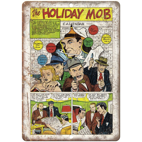 "The Holiday Mob Vintage Comic Strip 10"" X 7"" Reproduction Metal Sign J314"