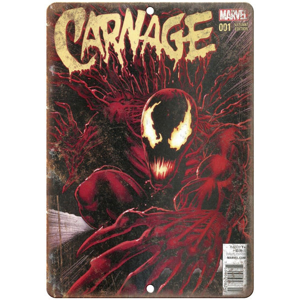 "Carnage #001 Comic Book Marvel Comics 10"" x 7"" Retro Look Metal Sign"