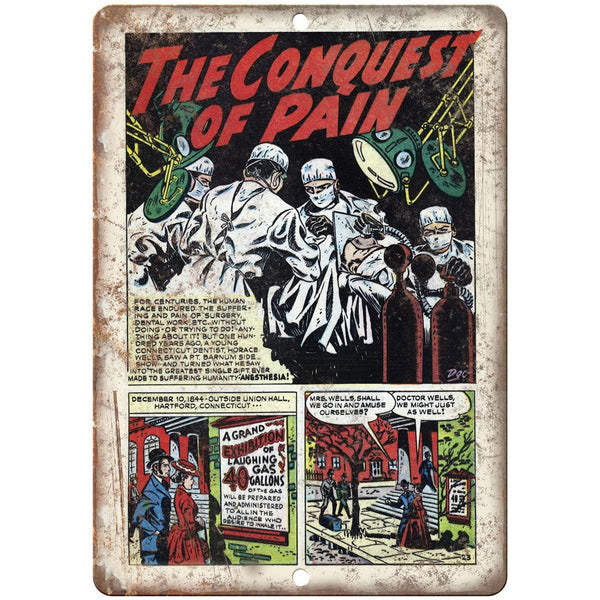 "Wonders of Science Comic Conquest of Pain 10"" X 7"" Reproduction Metal Sign J465"