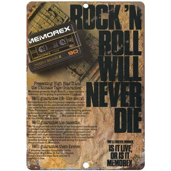"Memorex Rock and Roll Will Never Die 10"" x 7"" Reproduction Metal Sign"