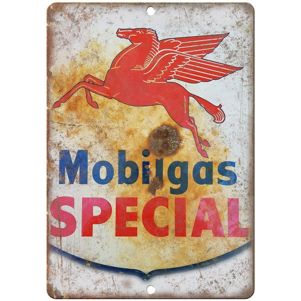 "Porcelain Look Mobil Gas Special 10"" x 7"" Reproduction Metal Sign"