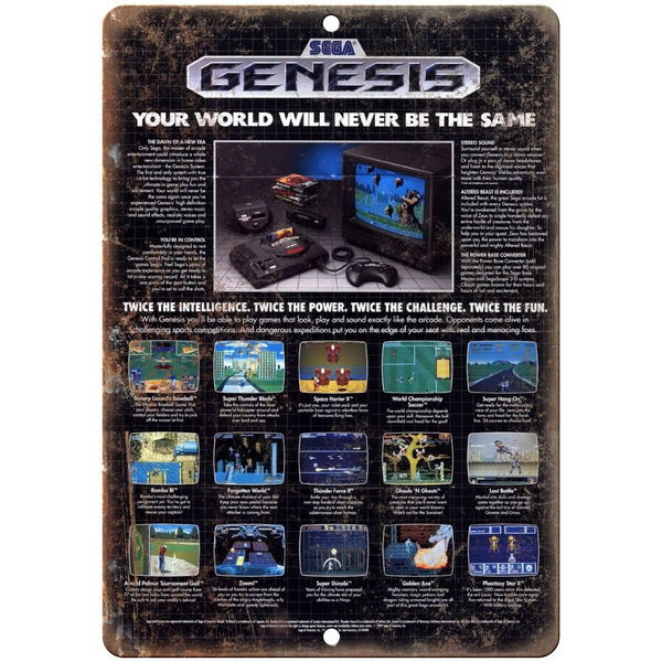 "Sega Genesis Video Game Ad 10"" x 7"" Reproduction Metal Sign"