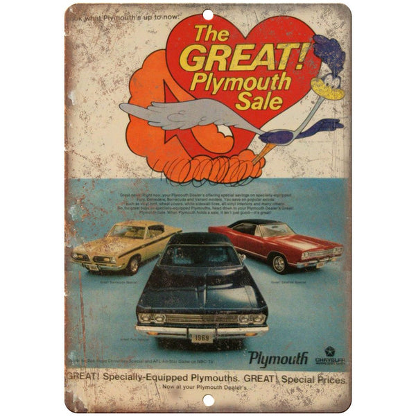 "1969 - Plymouth Road Runner 10"" x 7"" Retro Look Metal Sign"