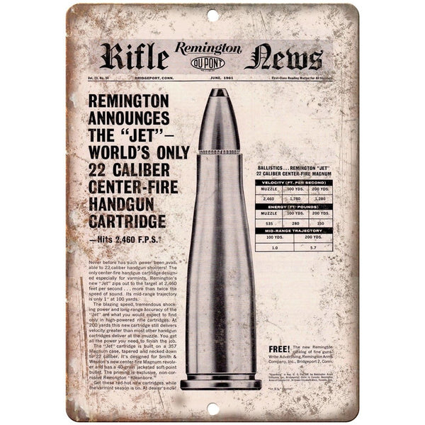 "Remington Rifle News Jet 22 Caliber Cartridge 10"" x 7"" Reproduction Metal Sign"
