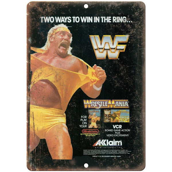 "Wrestle Mania Acclaim Hulk Hogan Nintendo 10"" x 7"" Retro Look Metal Sign"
