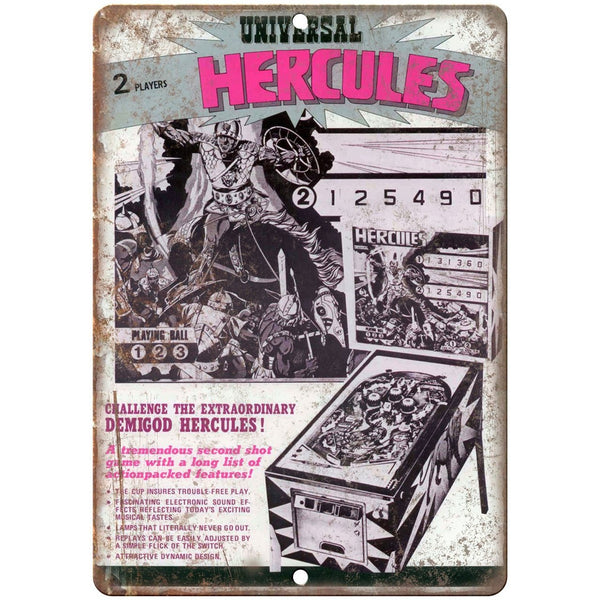 "Universal Hurcules Vintage Pinball Ad 10"" x 7"" Reproduction Metal Sign G135"