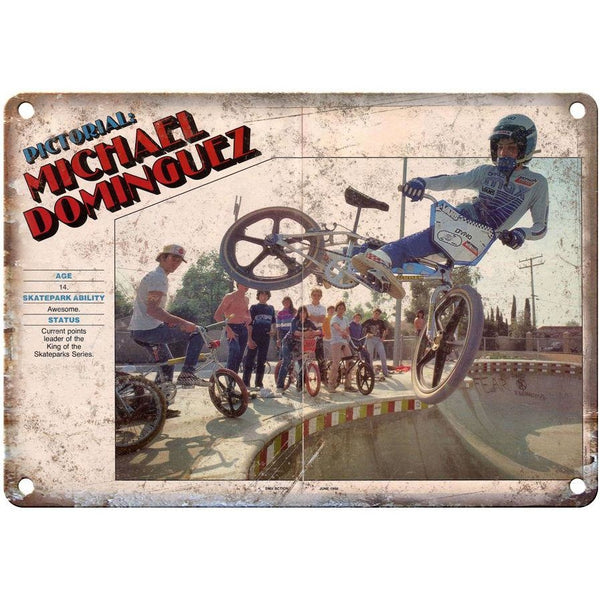 "RARE Vintage BMX, Michael Dominguez, bmx racing 10"" x 7"" reproduction metal sign"