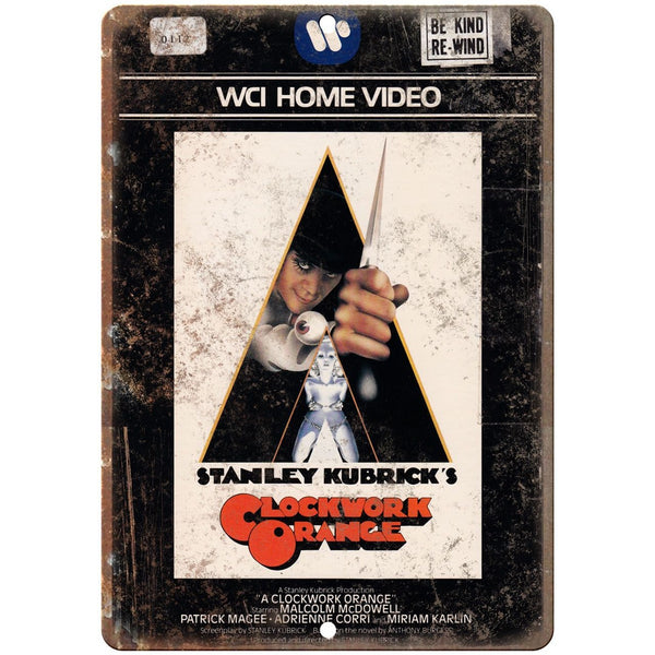 "Clockwork Orange Stanley Kubrick VHS Cover 10"" x 7"" Reproduction Metal Sign"