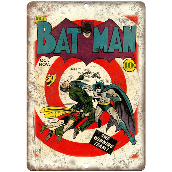 "Vintage Bat Man Issue #7 Comic Cover Art 10"" x 7"" Reproduction Metal Sign J04"