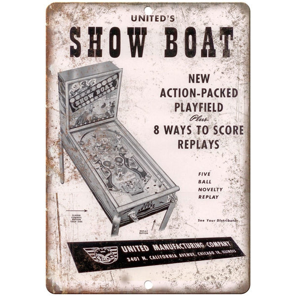 "United's Show Boat Pinball Machine Ad 10"" x 7"" Reproduction Metal Sign G149"