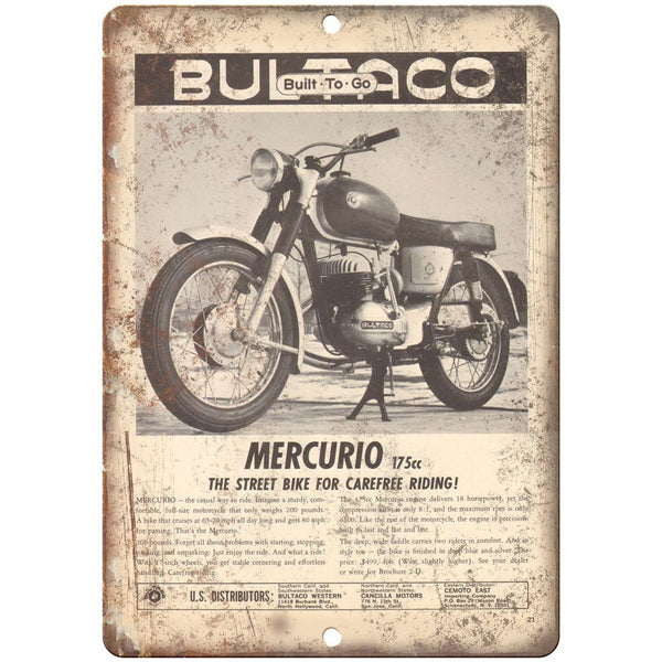 "Mercurio 175CC Motorcycle Vintage Ad Garage 10"" X 7"" Reproduction Metal Sign F29"