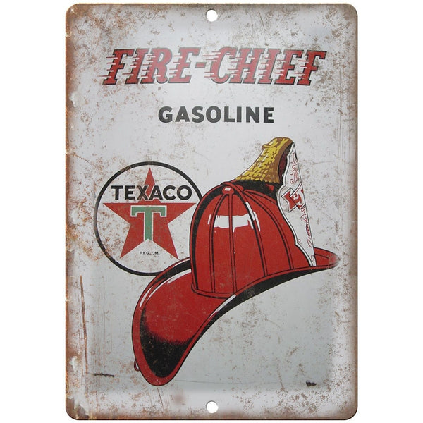 "Texaco Fire Chief Porcelain Look 10"" X 7"" Reproduction Metal Sign U97"