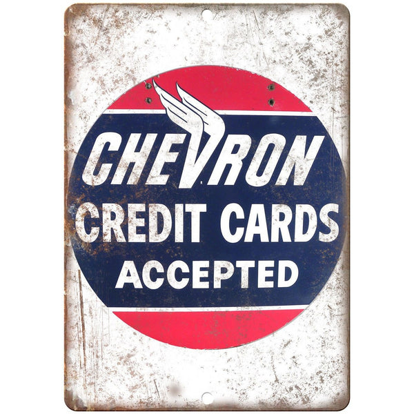 Chevron Credit Cards Porcelain Look Reproduction Metal Sign U133