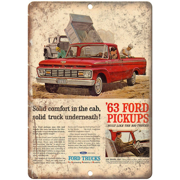 "1963 Ford Pickup Truck Custom Cab Ad 10"" x 7"" Reproduction Metal Sign A31"