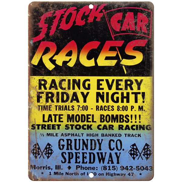 "Stock Car Races grundy Speedway Vintage Ad 10"" X 7"" Reproduction Metal Sign A484"