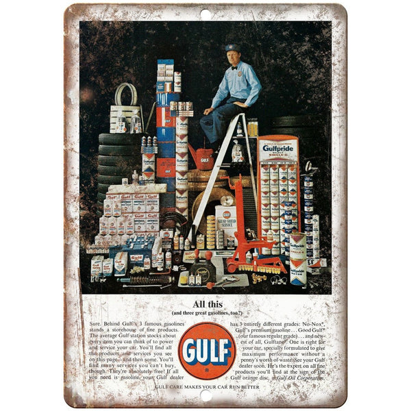 "Gulf Motor Oil Vintage Magazine Ad 10"" x 7"" Reproduction Metal Sign A11"