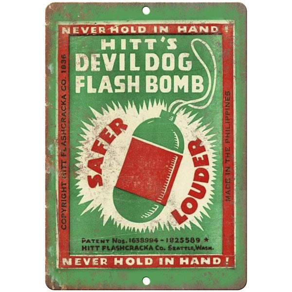 "Hitt's Devil Dog Firecracker Artwork 10"" X 7"" Reproduction Metal Sign ZD51"