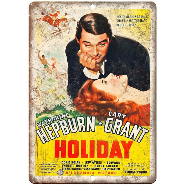 "Holiday Cary Grant Hepburn Movie Poster 10"" x 7"" Reproduction Metal Sign"