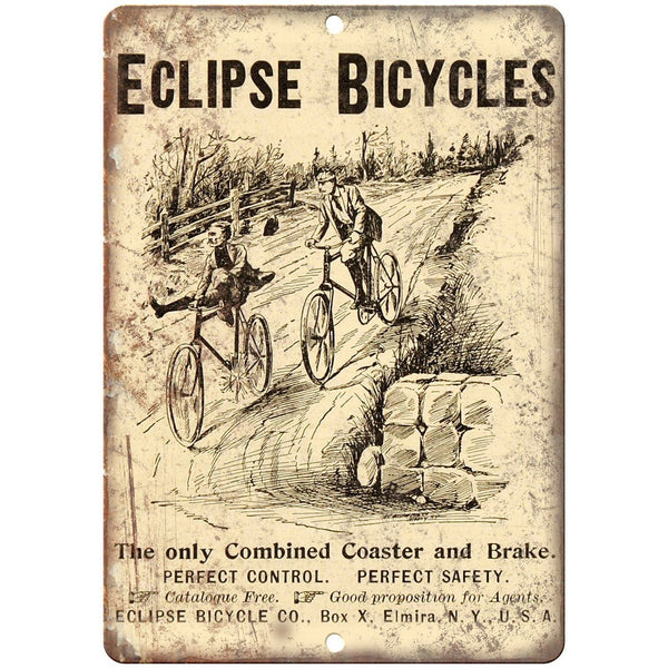 "Eclipse Bicycle Co. Vintage Art Ad 10"" x 7"" Reproduction Metal Sign B421"