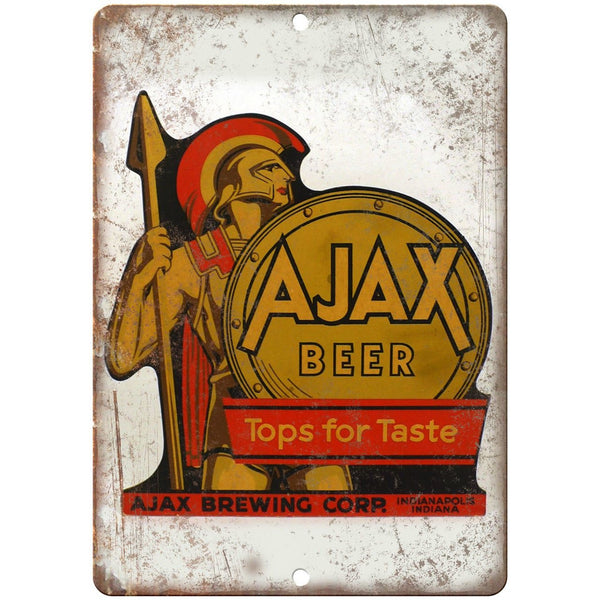 "Ajax Beer Indianapolis Vintage Ad 10"" x 7"" Reproduction Metal Sign E365"