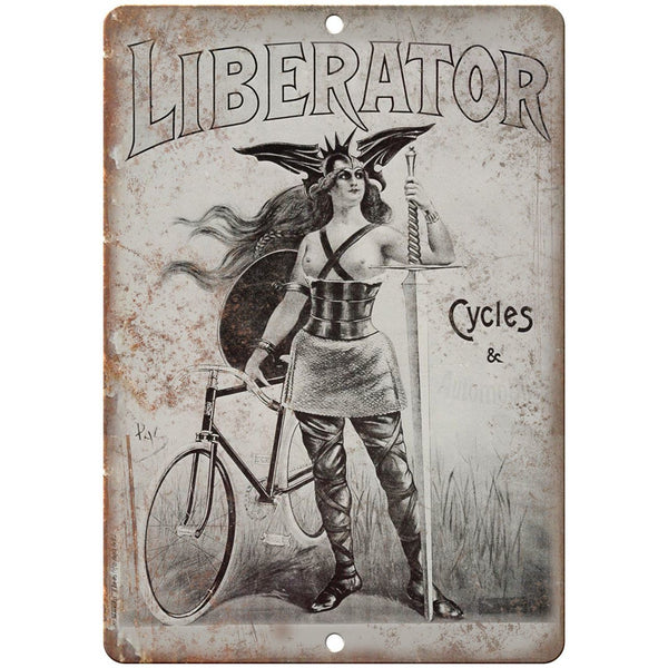"Liberator Cycles & Automobiles Bicycle Ad 10"" x 7"" Reproduction Metal Sign B341"