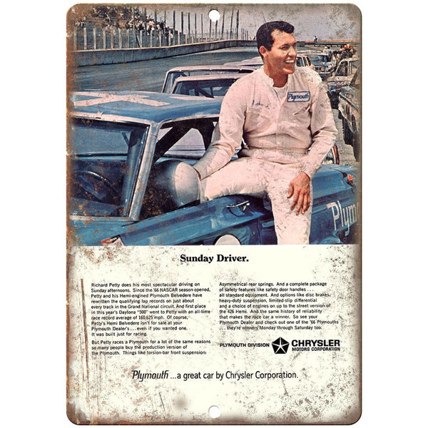 "1966 Plymouth, Richard Petty, NASCAR 10"" x 7"" Reproduction Metal Sign"
