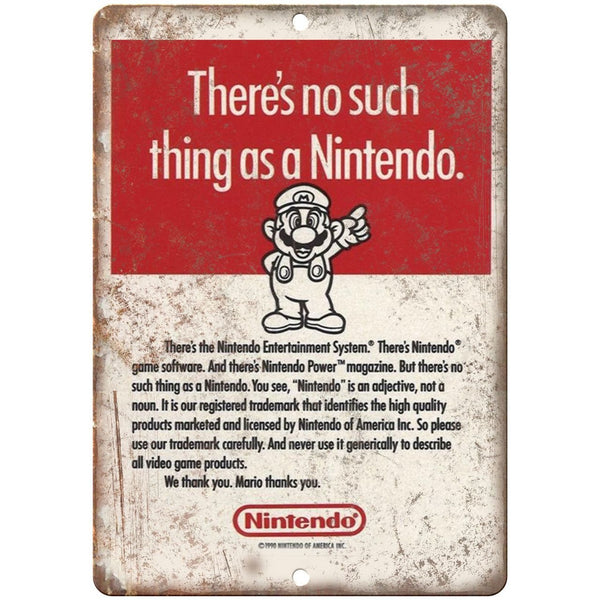 "1990 - Nintendo Mario RARE Advertisment 10"" x 7"" Retro Look Metal Sign"