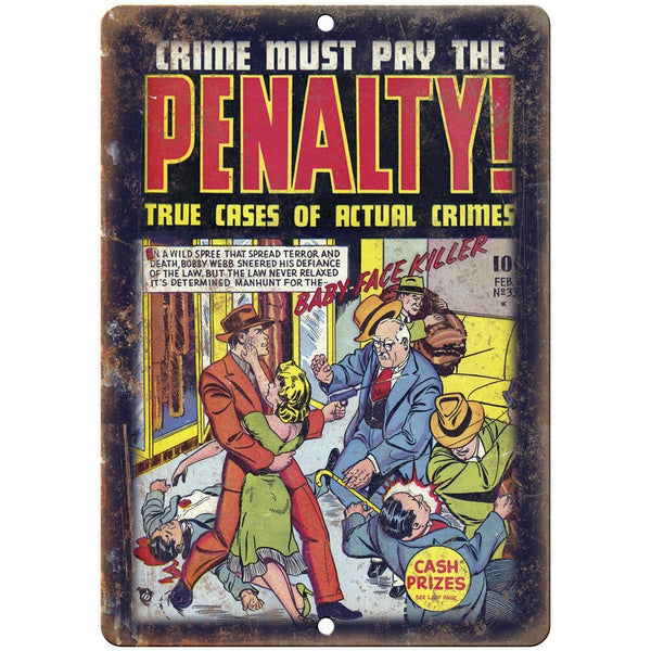 "Penalty! Vintage Comic Book Art 10"" X 7"" Reproduction Metal Sign J341"