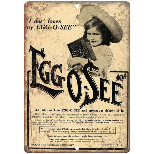 "Egg-o-See Children Food Ad 10"" X 7"" Reproduction Metal Sign N324"