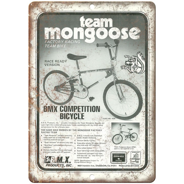 "Team Mongoose BMX Bicycle - 10"" x 7"" Metal Sign - Vintage Look Reproduction"
